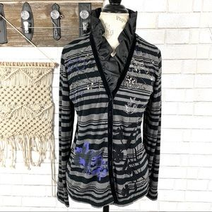 Dolce vita Ruffled collar beaded print cardigan